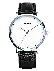 SINOBI Мужской Нарядные часы Модные часы Защита от влаги Ударопрочный Кварцевый Кожа Группа Повседневная Черный