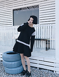 irak tir vraiment cool a frappé le laisser coutures de couleur deux col rond manches longues d'une ligne robe