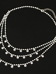 Femme Collier court /Ras-du-cou Collier multi rangs Zircon cubique Zircon Alliage Basique Pendant Durable Argent Bijoux PourMariage