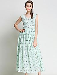 SUOQI Women's Plus Size Going out Sexy Chiffon Dress Print V Neck Sleeveless Spring Summer