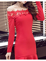 Women's Going out Party Lace Trumpet/Mermaid Dress,Solid Boat Neck Above Knee Long Sleeve Rayon Nylon Spandex Spring Fall Mid Rise