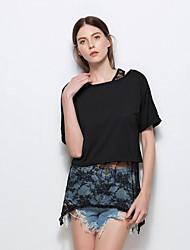 Tee-shirt Femme,Couleur Pleine Décontracté / Quotidien Chic de Rue Eté Manches Courtes Col Arrondi Polyester Moyen