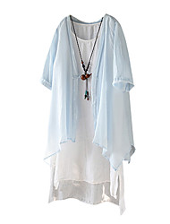 Women's Going out Simple Spring Cloak/Capes,Solid V Neck ½ Length Sleeve Long Cotton