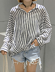 Korean Institute of wind was thin loose striped long-sleeved shirt blouses retro real shot