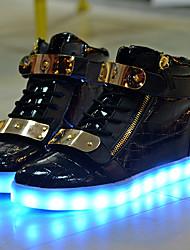 Unissex-Tênis-Light Up Shoes Shoe luminous-Salto Baixo-Branco Preto-Couro-Ar-Livre Casual Para Esporte
