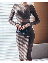 Korean Shopping Slim was thin long-sleeved round neck halter dress perspective EDITION