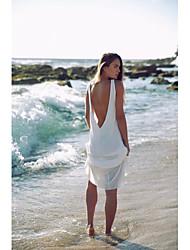Damen Tunika Kleid-Strand Solide Rundhalsausschnitt Maxi Ärmellos Baumwolle Sommer Mittlere Hüfthöhe Mikro-elastisch Mittel