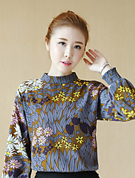 Women's Casual/Daily Simple Blouse,Floral Stand Long Sleeve Cotton Thin
