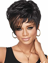 Synthetic Women Short Wigs For African American Straight Black Ombre Color Heat Resistant Wig