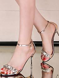 Women's Sandals Summer Club Shoes Microfibre Dress Stiletto Heel Rhinestone