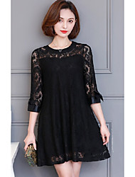 Sign sleeve 2017 spring new Korean fashion loose dress was thin
