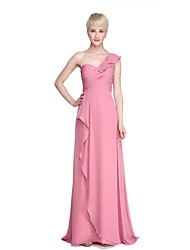 LAN TING BRIDE Floor-length One Shoulder Bridesmaid Dress - Open Back Elegant Sleeveless Chiffon
