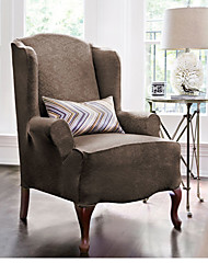 URBANLIFE Stretch Pique Shorty Studio Sized Wing Chair Slipcover Damask