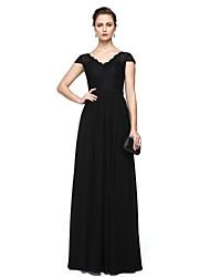 Tubinho Decote V Longo Chiffon Renda Evento Formal Vestido com Renda Faixa / Fita Pregas de TS Couture®