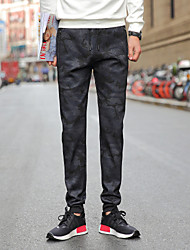 Masculino Simples Moda de Rua Activo Cintura Média Micro-Elástico Chinos Calças Esportivas Calças,Reto Delgado Estampado