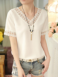 Really making new large size women loose shirt solid color shirt short-sleeve T-shirt casual short-sleeved V-neck chiffon shirt