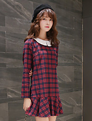Sign tide 2017 spring new women's plaid long-sleeved dress stitching doll collar bottoming