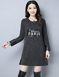 2016 new winter fashion fight skin Korean commuter and long sections round neck long-sleeved dress Ms.