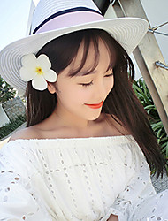 Women's Fashion Straw Hat Sun Hat Wide Brim/Bucket Hat Cute Casual Bowknot Color Block Striped Summer White/Black