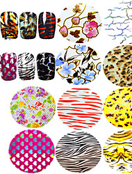1pcs Nail Art Transfer Foils Sticker Beautiful Flower Sweet Heart Colorful Leopard Image Design Manicure Transfer Foils Tips Nail Beauty STZXK51-60