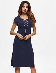 Women's Going out Casual/Daily Vintage Simple Bodycon Dress,Solid Round Neck Knee-length Sleeveless Cotton Spring Summer Low Rise