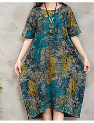 Women's Going out Loose Dress,Floral Round Neck Midi Long Sleeve Silk Summer Mid Rise Micro-elastic Thin