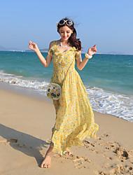 2017 new bohemian chiffon floral sleeveless vest harness dress skirt beach resort