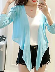 Tee-shirt Femme,Couleur Pleine Décontracté / Quotidien Habillées Mignon Chic de Rue Printemps Eté Manches ¾ Col en V Spandex Fin