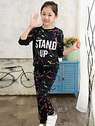Girl's Going out Casual/Daily Sports Print Patchwork Cotton Spring/Fall Long Sleeve Blouse Pant 2 Piece Clothing Set Children's Garments