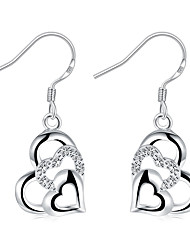 Women's Girls' Drop Earrings Crystal Fashion Costume Jewelry Silver Plated Heart Jewelry For Wedding Party Daily Casual
