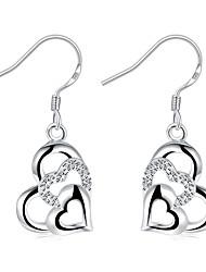 Жен. Девочки Серьги-слезки Кристалл Мода бижутерия Серебрянное покрытие В форме сердца Бижутерия Назначение Свадьба Для вечеринок