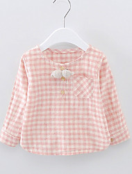 Casual/Daily Solid Blouse,Cotton Spring Fall