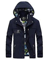 Homme Veste Hauts/Tops Garder au chaud Pare-vent Printemps Bleu Olive Kaki clair