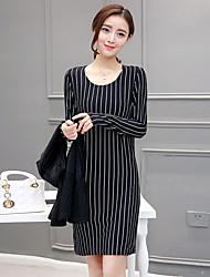 Sign spring fat mm two-piece women's suit jacket was thin stripes big yards temperament long Dress