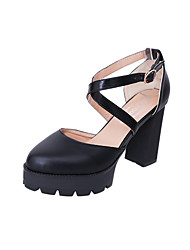 Damen High Heels Club-Schuhe PU Frühling Sommer Normal Kleid Club-Schuhe Schnalle Niedriger Absatz Schwarz 10 - 12 cm