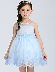Ball Gown Short / Mini Flower Girl Dress - Cotton Organza Satin Jewel with Appliques Flower(s) Lace Pearl Detailing Sequins