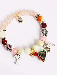 Women's Girls´ Chain Bracelet Charm Bracelet Strand Bracelet Amethyst Imitation Pearl RhinestoneNatural Friendship Rainbow Turkish