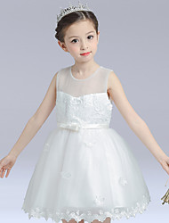 Ball Gown Short / Mini Flower Girl Dress - Cotton Satin Tulle Sleeveless Jewel with Appliques Bow(s) Ruffles Sash / Ribbon