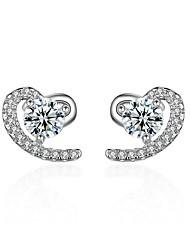925 Rhinestone Heart Stud Earrings Jewelry Heart Party Daily Casual Sterling Silver Zircon 1 pair Silver