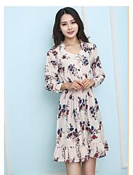 корейской торговой весна сладкого темперамент печать однобортный воротник платье было тонким эластичным
