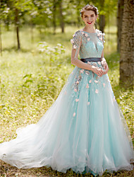 A-Line Bateau Neck Court Train Tulle Formal Evening Dress with Appliques Flower(s) Pearl Detailing Sash / Ribbon
