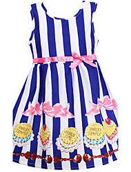 Girls Fashion Summer Dress Blue Stripe Cake Print Cotton Dresses Party Pageant Birthday Children Clothes