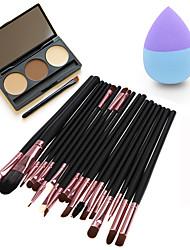 20pcs Makeup Brushes Set Eyeshadow Eyeliner Lip Brush Tool4#&3Colors Eyeshadow Palette1PCS Beauty egg