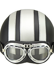 Motorcycle Helmet Open Face Visor Motocross Motor Helmets With Goggles Scarf Adjustable For Hare Retro Outdoor Cycling Silver