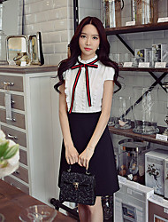 DABUWAWA Women's Going out Casual/Daily Work Simple Street chic Sophisticated Shift Sheath Black and White DressColor Block Stand Above Knee