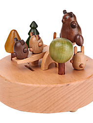 Music Box Circular Leisure Hobby Wood Children's Unisex