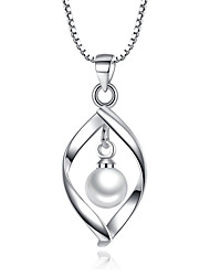Elegant Women's Pendant Necklaces Leaf Imitation Pearl Platinum Plated Unique Design Silver Jewelry For Wedding Party Special Occasion Engagement
