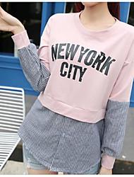 T-shirt Da donna Casual SempliceA strisce Rotonda Cotone Manica lunga