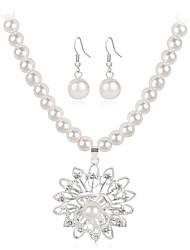 Mujer Juego de Joyas Collar Moda Euramerican joyería de disfraz Perla Brillante Legierung Forma de Flor Forma Geométrica Sol 1 Collar 1