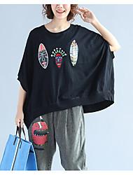 Tee-shirt Femme,Imprimé Décontracté / Quotidien simple ½ Manches Col Arrondi Coton